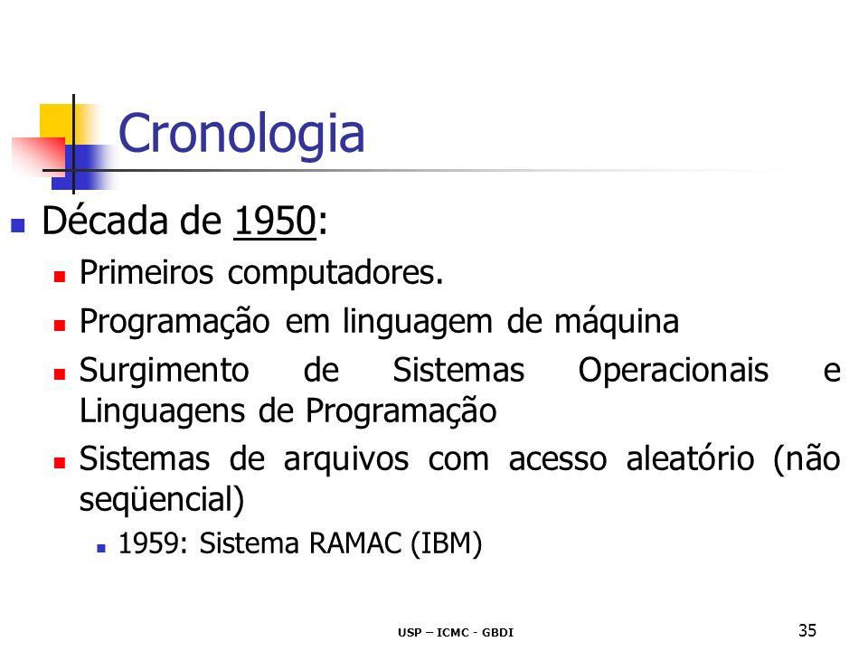 USP – ICMC - GBDI 36 Cronologia Década de 1960: CODASYL: consórcio da indústria COBOL Conceituação de SGBD e modelos de dados Primeiro SGBD comercialmente disponível - Modelo Hierárquico IMS – IBM Integração com a linguagem COBOL Ainda em uso corrente
