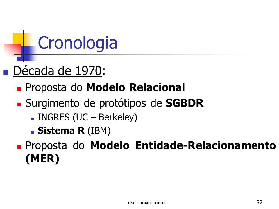 USP – ICMC - GBDI 38 Cronologia Década de 1980: Primeiro SGBDR de grande porte disponível DB2 – IBM Surge SQL vinculada ao Sistema R SQL torna-se padrão Modelos Orientados a Objetos