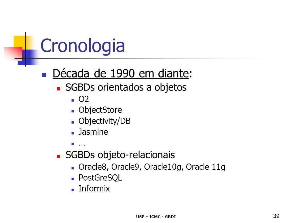 USP – ICMC - GBDI 39 Cronologia Década de 1990 em diante: SGBDs orientados a objetos O2 ObjectStore Objectivity/DB Jasmine … SGBDs objeto-relacionais