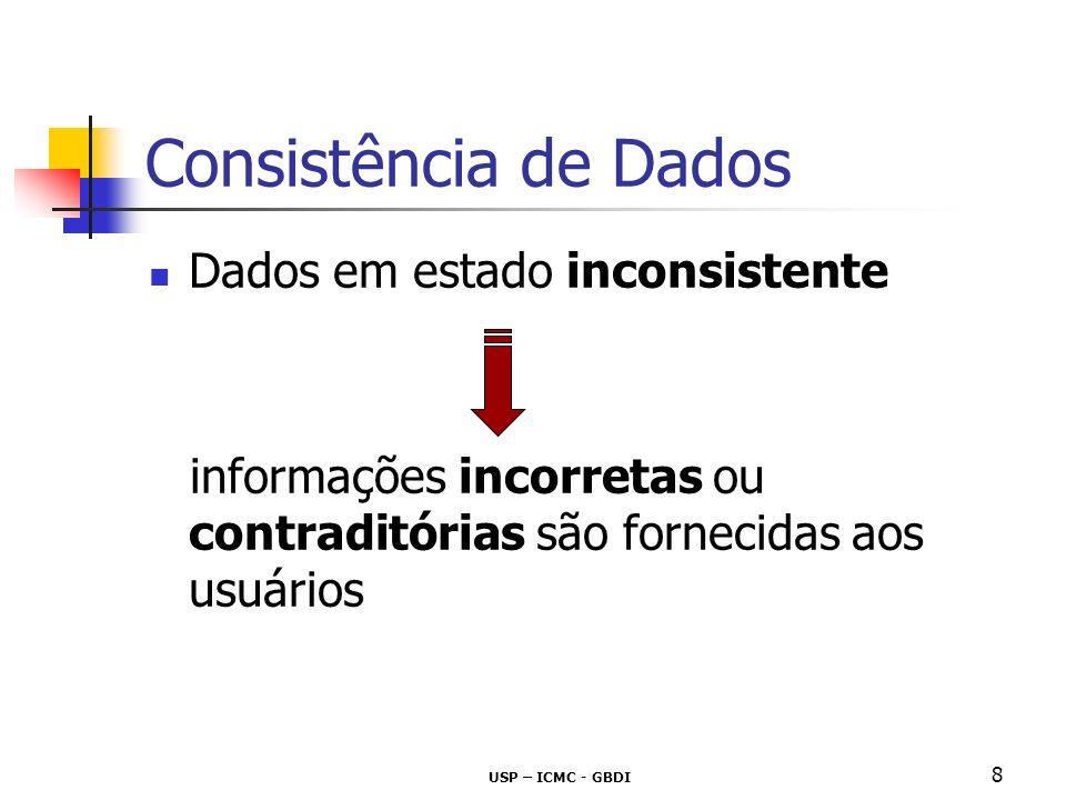 USP – ICMC - GBDI 8 Consistência de Dados Dados em estado inconsistente informações incorretas ou contraditórias são fornecidas aos usuários