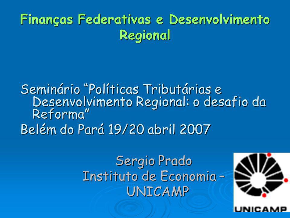 Finanças Federativas e Desenvolvimento Regional Seminário Políticas Tributárias e Desenvolvimento Regional: o desafio da Reforma Belém do Pará 19/20 a