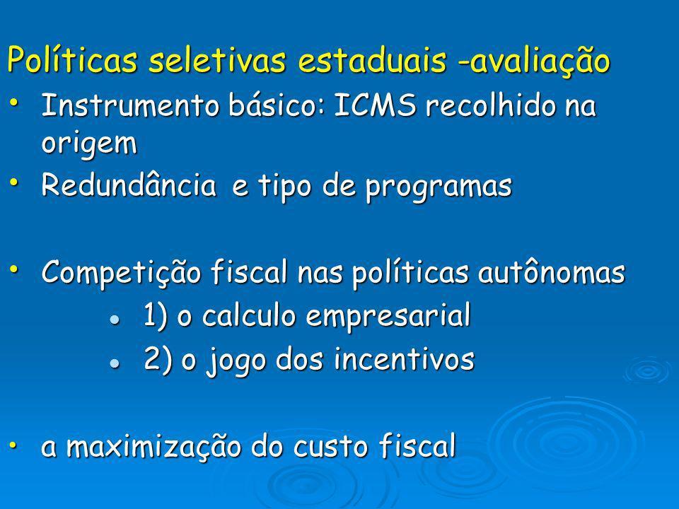 Políticas seletivas estaduais -avaliação Instrumento básico: ICMS recolhido na origem Instrumento básico: ICMS recolhido na origem Redundância e tipo