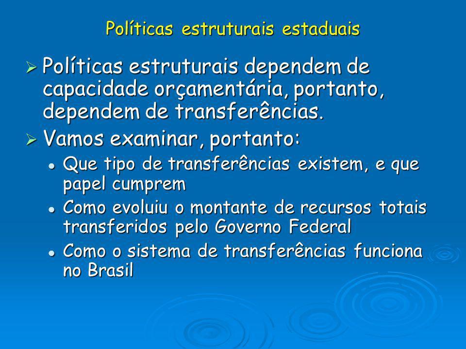 Políticas estruturais dependem de capacidade orçamentária, portanto, dependem de transferências. Políticas estruturais dependem de capacidade orçament