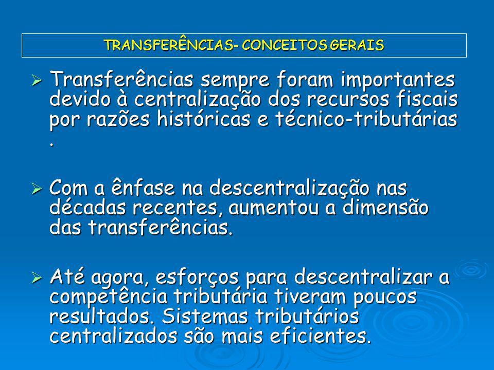 Transferências sempre foram importantes devido à centralização dos recursos fiscais por razões históricas e técnico-tributárias. Transferências sempre