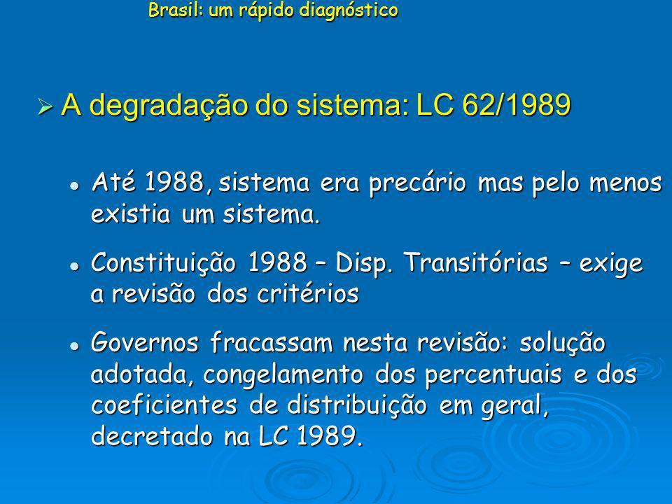 A degradação do sistema: LC 62/1989 A degradação do sistema: LC 62/1989 Até 1988, sistema era precário mas pelo menos existia um sistema. Até 1988, si