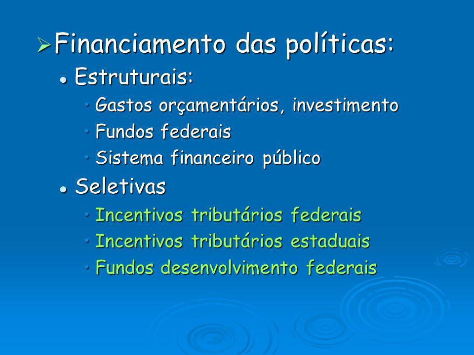 Financiamento das políticas: Financiamento das políticas: Estruturais: Estruturais: Gastos orçamentários, investimentoGastos orçamentários, investimen