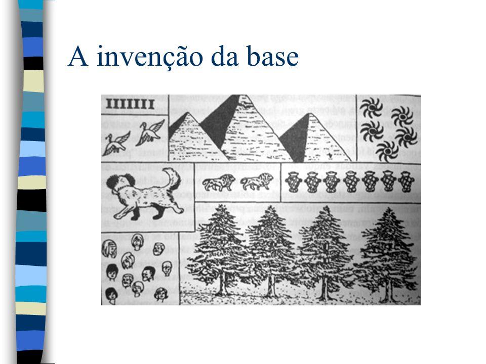 Algumas bases utilizadas n Base 5 –Romanos n Base 10 –A base mais utilizada n Base 20 –Nova Guiné n Base 12 –mesopotamia n Base 60 –Sumérios graus e minutos n Base 20 –Nova Guiné