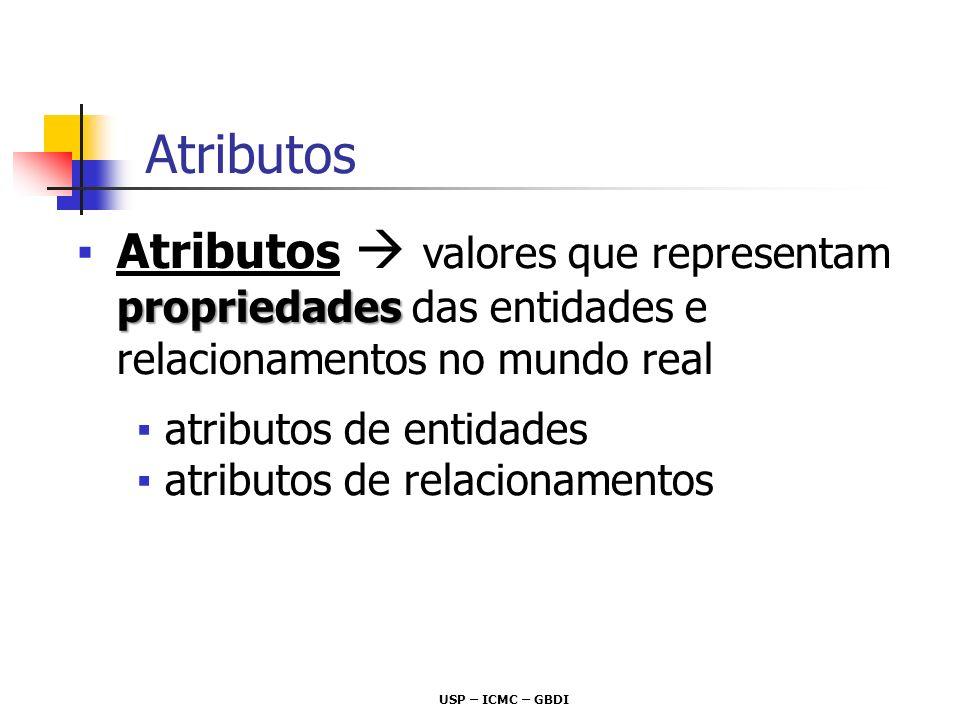 USP – ICMC – GBDI propriedadesAtributos valores que representam propriedades das entidades e relacionamentos no mundo real atributos de entidades atri