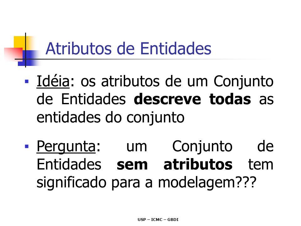 USP – ICMC – GBDI Idéia: os atributos de um Conjunto de Entidades descreve todas as entidades do conjunto Pergunta: um Conjunto de Entidades sem atrib