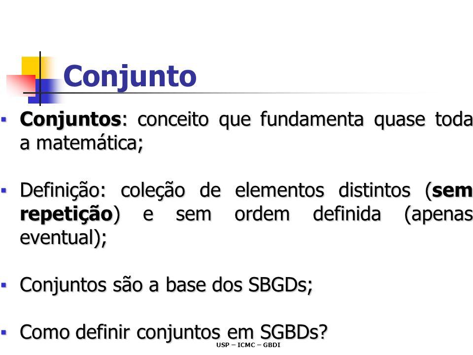 USP – ICMC – GBDI Conjuntos: conceito que fundamenta quase toda a matemática;Conjuntos: conceito que fundamenta quase toda a matemática; Definição: co