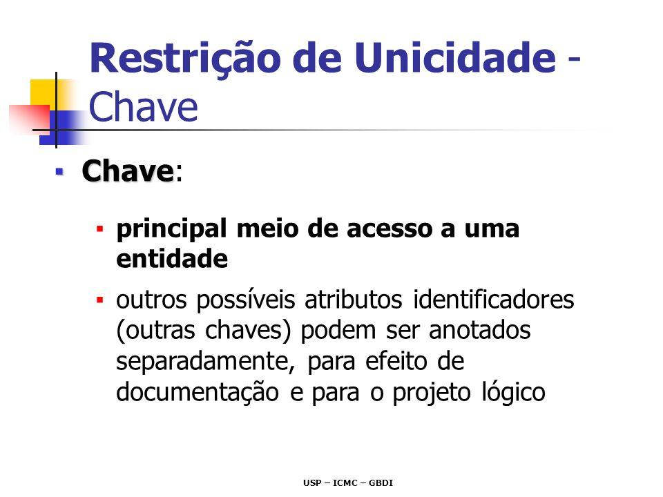 USP – ICMC – GBDI ChaveChave: principal meio de acesso a uma entidade outros possíveis atributos identificadores (outras chaves) podem ser anotados se