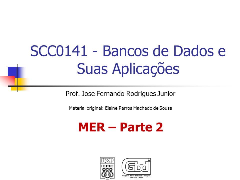 SCC0141 - Bancos de Dados e Suas Aplicações Prof. Jose Fernando Rodrigues Junior Material original: Elaine Parros Machado de Sousa MER – Parte 2