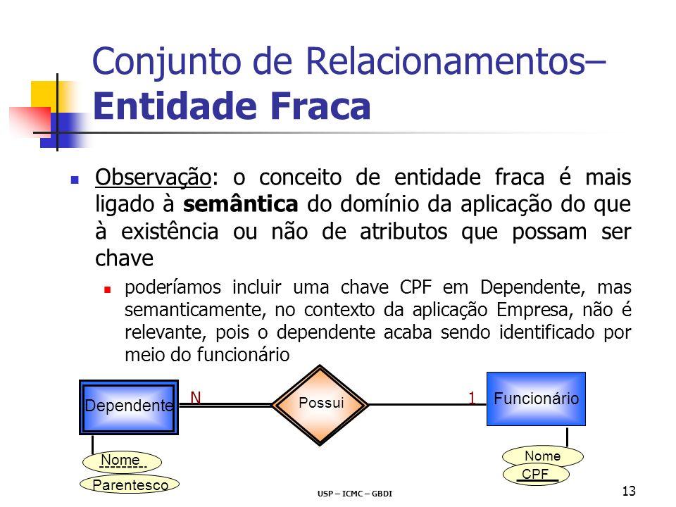 USP – ICMC – GBDI 13 Conjunto de Relacionamentos– Entidade Fraca Observação: o conceito de entidade fraca é mais ligado à semântica do domínio da apli