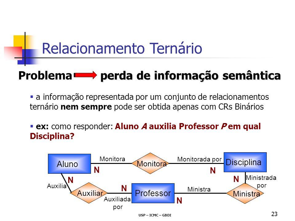USP – ICMC – GBDI 23 perda de informação semântica Problema perda de informação semântica a informação representada por um conjunto de relacionamentos