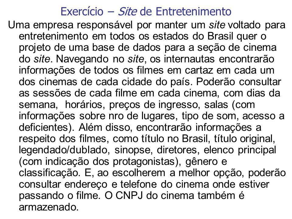 Uma empresa responsável por manter um site voltado para entretenimento em todos os estados do Brasil quer o projeto de uma base de dados para a seção
