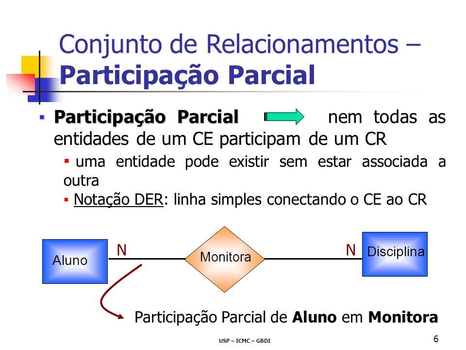 USP – ICMC – GBDI 6 Participação ParcialParticipação Parcial nem todas as entidades de um CE participam de um CR uma entidade pode existir sem estar a