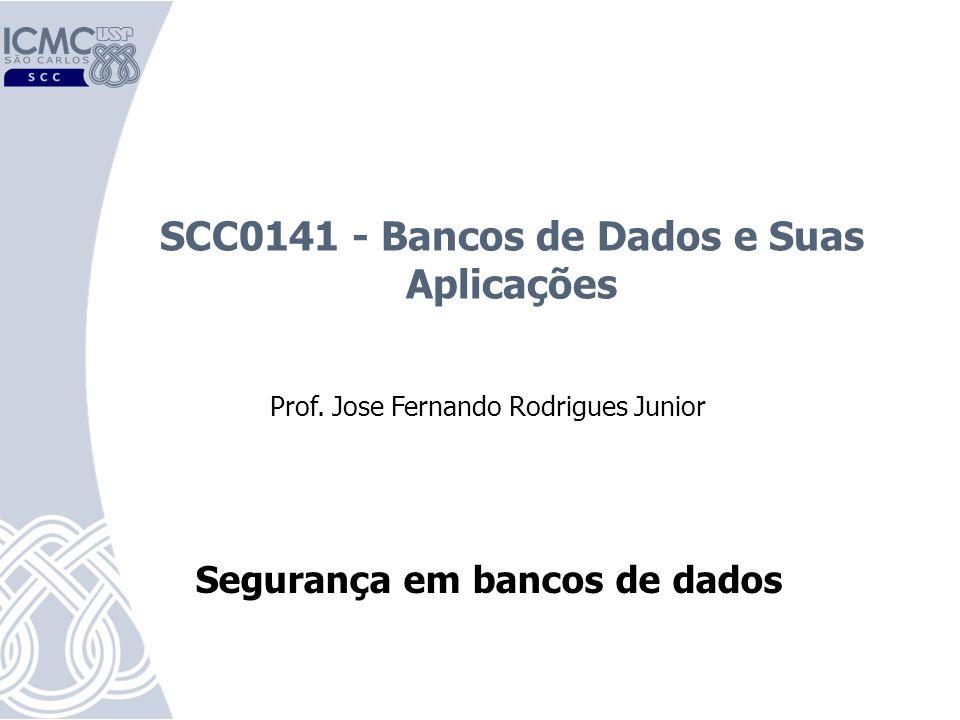 SCC0141 - Bancos de Dados e Suas Aplicações Prof. Jose Fernando Rodrigues Junior Segurança em bancos de dados