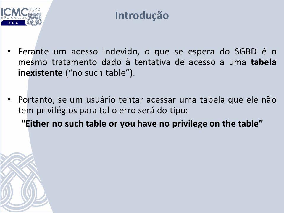 Introdução Perante um acesso indevido, o que se espera do SGBD é o mesmo tratamento dado à tentativa de acesso a uma tabela inexistente (no such table