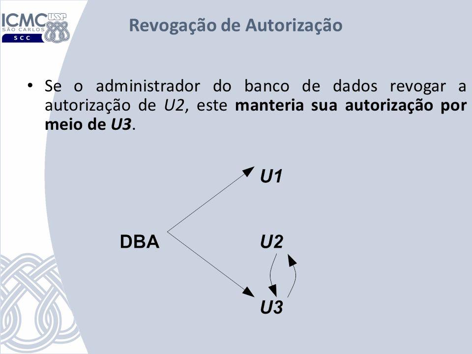 Revogação de Autorização Se o administrador do banco de dados revogar a autorização de U2, este manteria sua autorização por meio de U3.