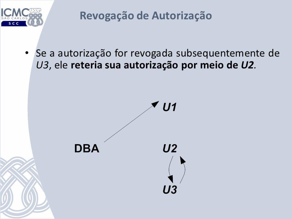 Revogação de Autorização Se a autorização for revogada subsequentemente de U3, ele reteria sua autorização por meio de U2.