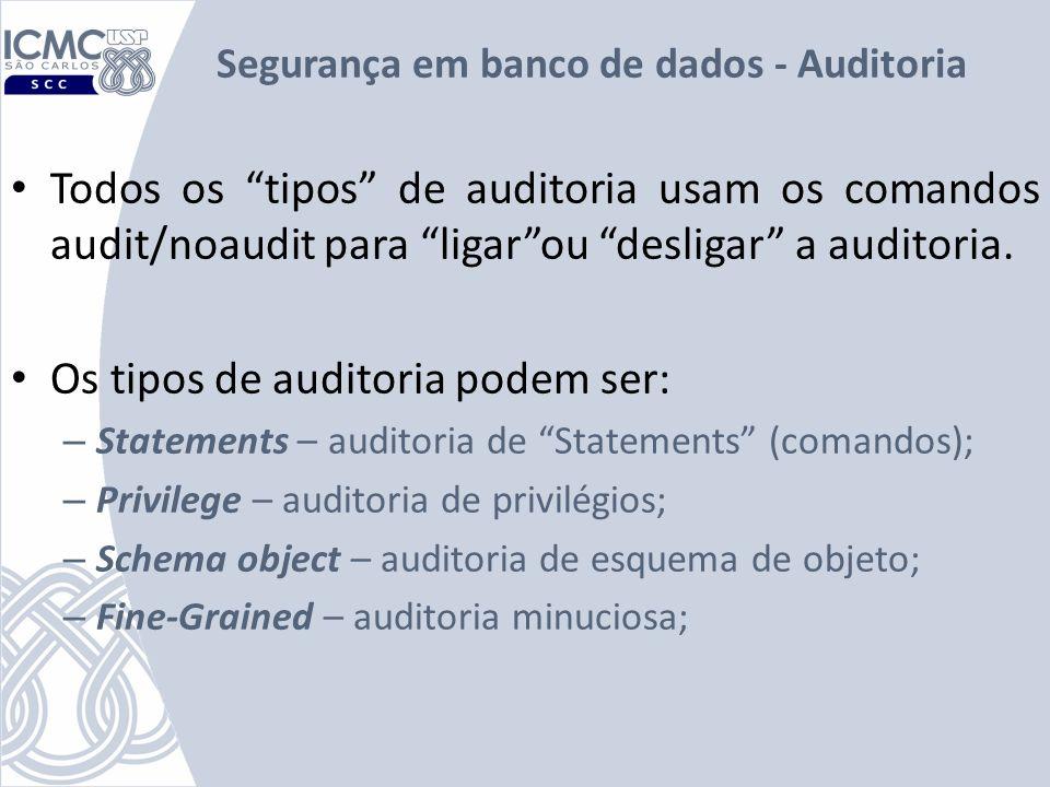 Segurança em banco de dados - Auditoria Todos os tipos de auditoria usam os comandos audit/noaudit para ligarou desligar a auditoria. Os tipos de audi