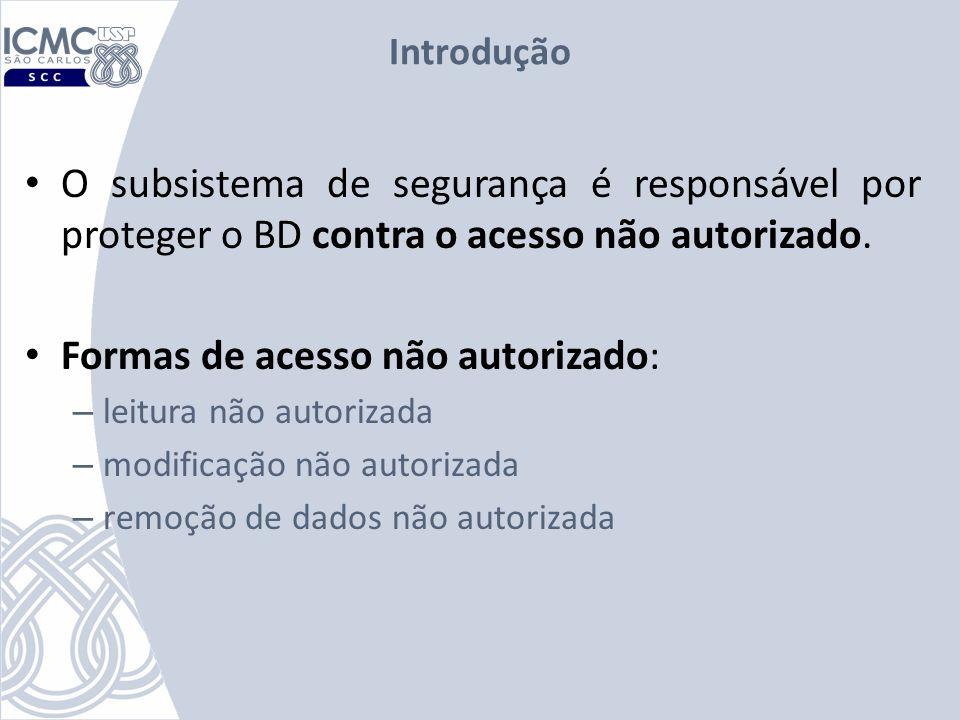 Revogação de Autorização Suponha que o administrador do banco de dados decida revogar a autorização do usuário U1.