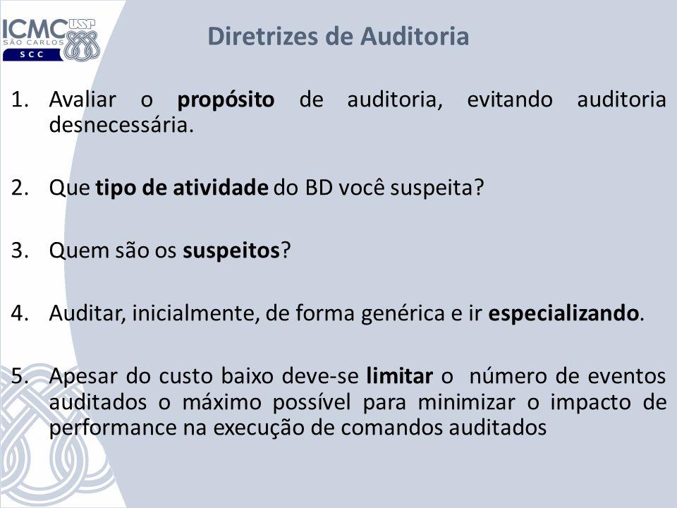 Diretrizes de Auditoria 1.Avaliar o propósito de auditoria, evitando auditoria desnecessária. 2.Que tipo de atividade do BD você suspeita? 3.Quem são