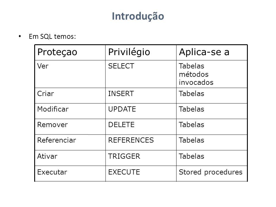 Introdução Em SQL temos: Stored proceduresEXECUTEExecutar TabelasTRIGGERAtivar Tabelas, colunasREFERENCESReferenciar TabelasDELETERemover Tabelas, col