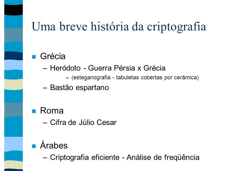 Uma breve história da criptografia Grécia –Heródoto - Guerra Pérsia x Grécia –(esteganografia - tabuletas cobertas por cerâmica) –Bastão espartano Rom
