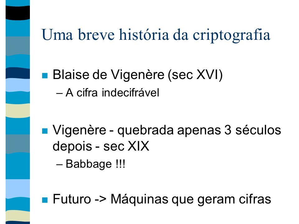 Uma breve história da criptografia Blaise de Vigenère (sec XVI) –A cifra indecifrável Vigenère - quebrada apenas 3 séculos depois - sec XIX –Babbage !