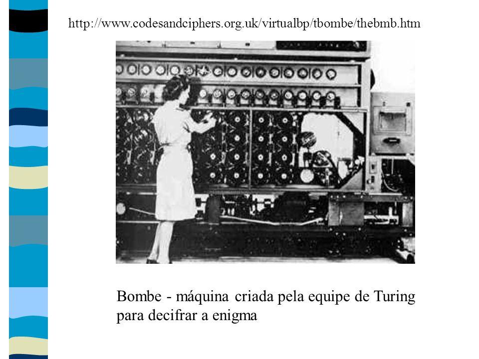 Bombe - máquina criada pela equipe de Turing para decifrar a enigma http://www.codesandciphers.org.uk/virtualbp/tbombe/thebmb.htm