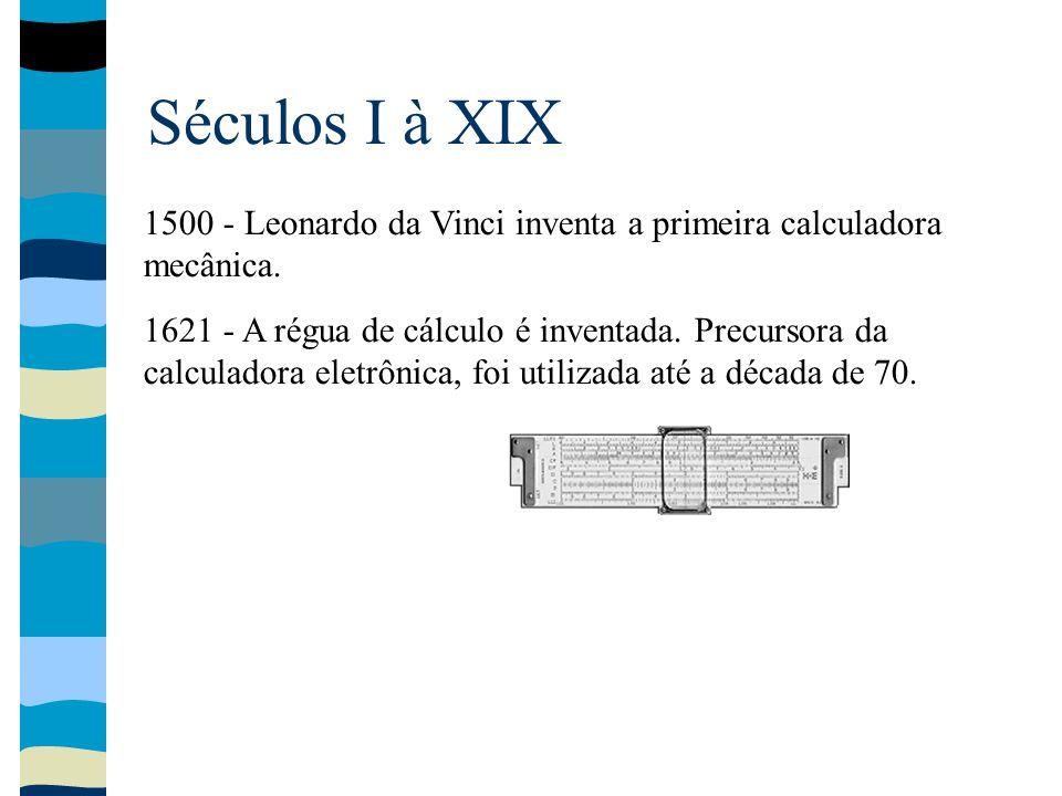 Séculos I à XIX 1500 - Leonardo da Vinci inventa a primeira calculadora mecânica. 1621 - A régua de cálculo é inventada. Precursora da calculadora ele