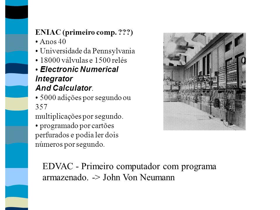 ENIAC (primeiro comp. ???) Anos 40 Universidade da Pennsylvania 18000 válvulas e 1500 relés Electronic Numerical Integrator And Calculator. 5000 adiçõ