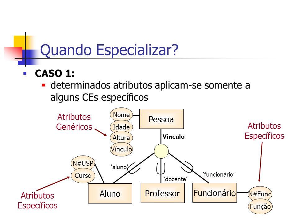 Quando Especializar? CASO 1: determinados atributos aplicam-se somente a alguns CEs específicos Atributos Genéricos Atributos Específicos Atributos Es