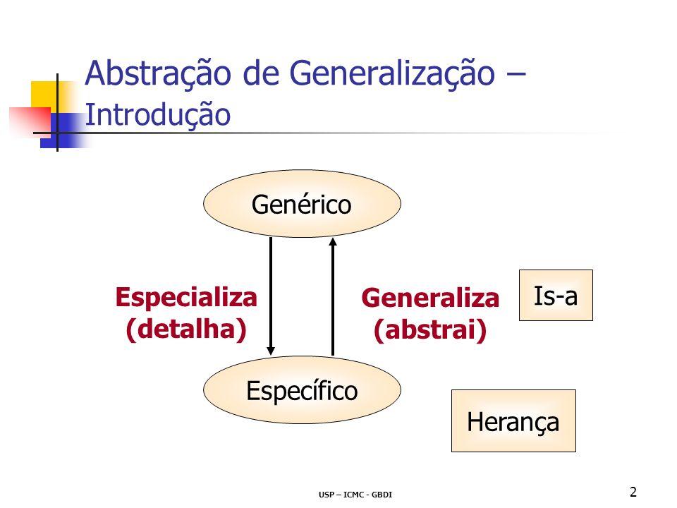 USP – ICMC - GBDI 2 Abstração de Generalização – Introdução Genérico Específico Generaliza (abstrai) Especializa (detalha) Is-a Herança