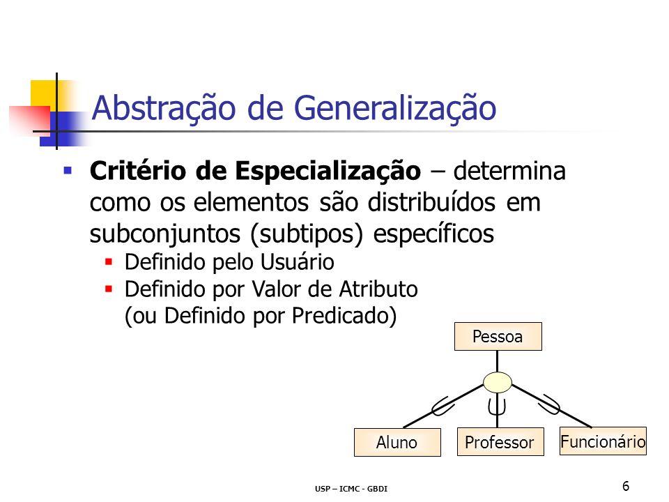 USP – ICMC - GBDI 6 Critério de Especialização – determina como os elementos são distribuídos em subconjuntos (subtipos) específicos Definido pelo Usu