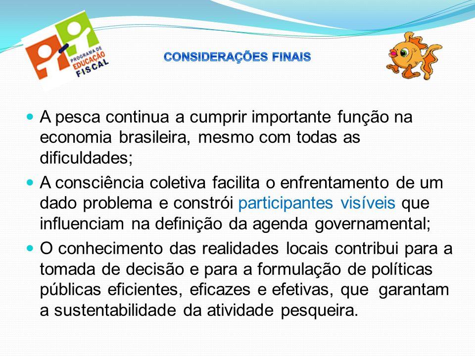 A pesca continua a cumprir importante função na economia brasileira, mesmo com todas as dificuldades; A consciência coletiva facilita o enfrentamento