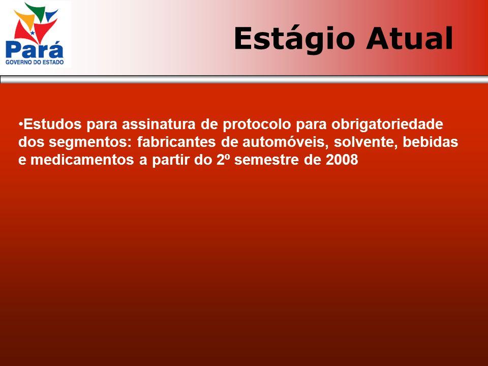No Pará Reunião em Goiás em Abril de 2007 para cessão do Código fonte do sistema Testes com os Contribuintes Petrobrás e Souza Cruz em outubro/2007 Implantação em janeiro/2008 Estágio Atual