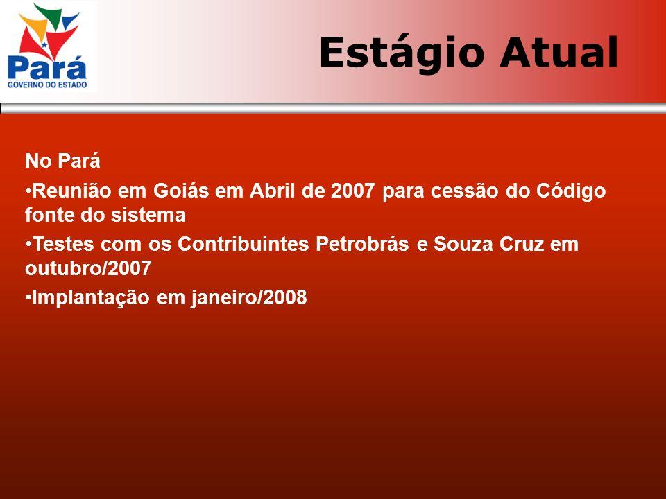 No Pará Reunião em Goiás em Abril de 2007 para cessão do Código fonte do sistema Testes com os Contribuintes Petrobrás e Souza Cruz em outubro/2007 Im