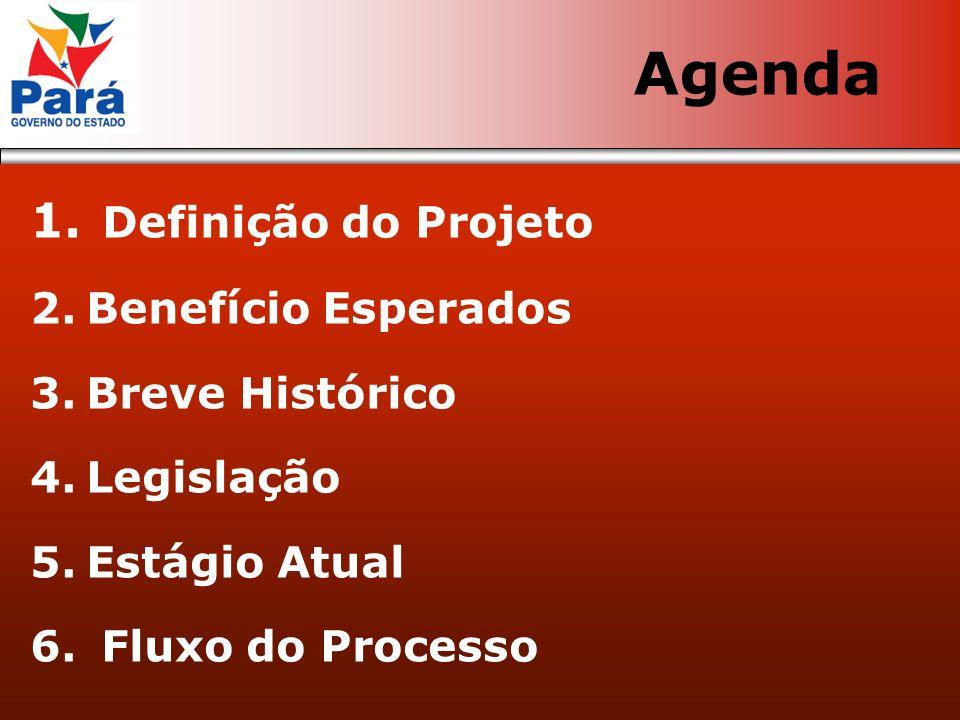 1. Definição do Projeto 2.Benefício Esperados 3.Breve Histórico 4.Legislação 5.Estágio Atual 6. Fluxo do Processo Agenda