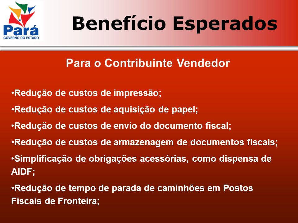 Para o Contribuinte Vendedor Redução de custos de impressão; Redução de custos de aquisição de papel; Redução de custos de envio do documento fiscal;