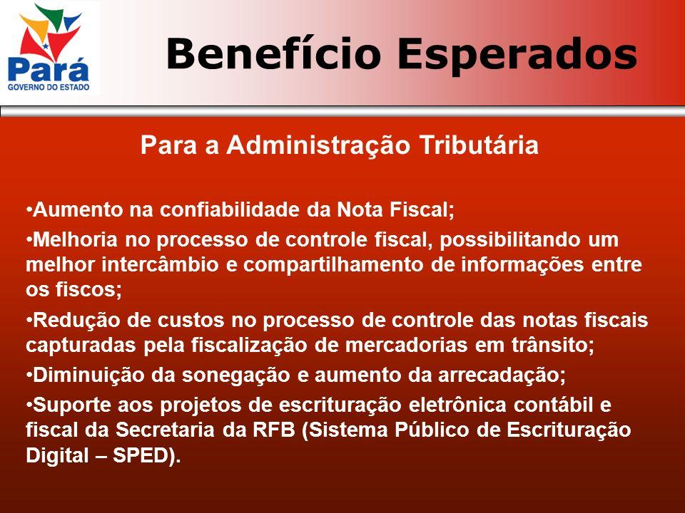 Para a Administração Tributária Aumento na confiabilidade da Nota Fiscal; Melhoria no processo de controle fiscal, possibilitando um melhor intercâmbi