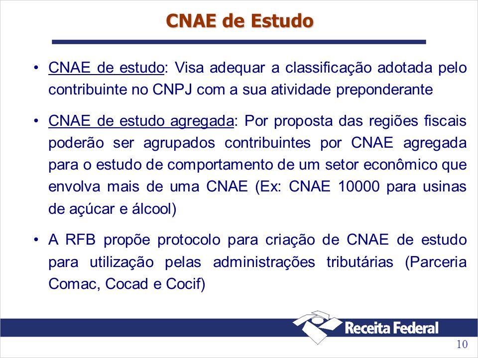10 CNAE de Estudo CNAE de estudo: Visa adequar a classificação adotada pelo contribuinte no CNPJ com a sua atividade preponderante CNAE de estudo agregada: Por proposta das regiões fiscais poderão ser agrupados contribuintes por CNAE agregada para o estudo de comportamento de um setor econômico que envolva mais de uma CNAE (Ex: CNAE 10000 para usinas de açúcar e álcool) A RFB propõe protocolo para criação de CNAE de estudo para utilização pelas administrações tributárias (Parceria Comac, Cocad e Cocif)