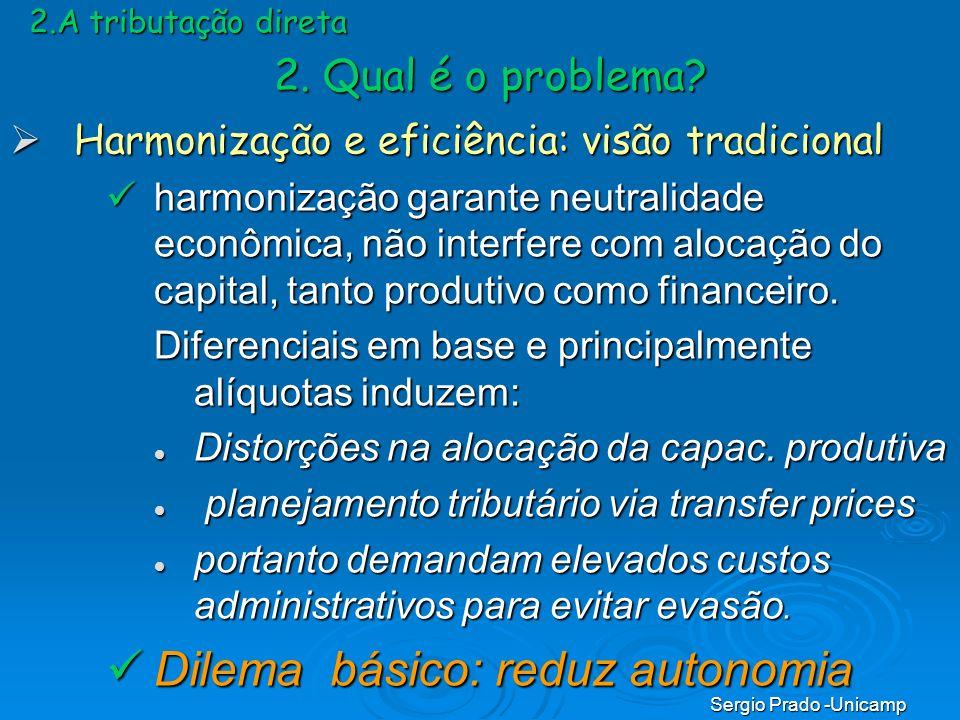 Sergio Prado -Unicamp 2.A tributação direta Harmonização e eficiência: visão tradicional Harmonização e eficiência: visão tradicional harmonização gar