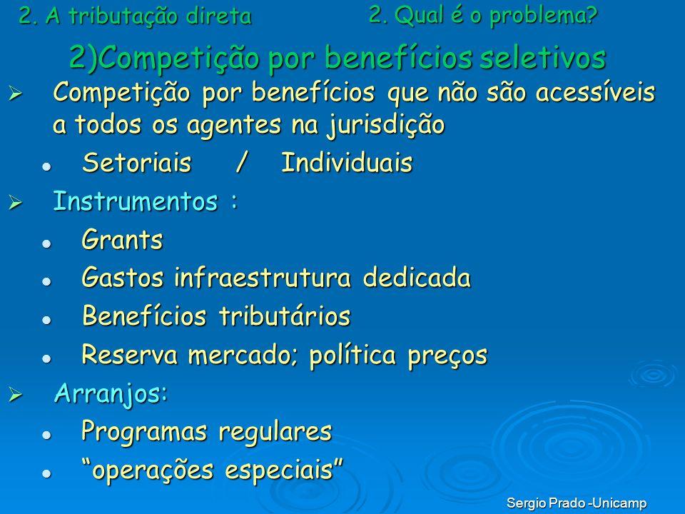 Sergio Prado -Unicamp 2. A tributação direta Competição por benefícios que não são acessíveis a todos os agentes na jurisdição Competição por benefíci