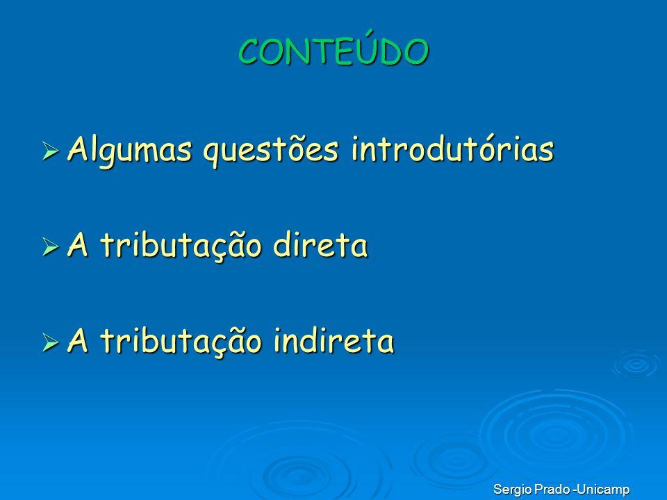 Sergio Prado -Unicamp CONTEÚDO Algumas questões introdutórias Algumas questões introdutórias A tributação direta A tributação direta A tributação indi