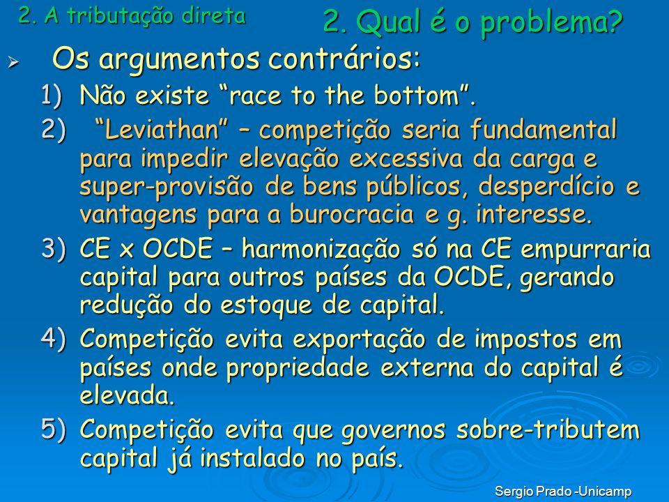 Sergio Prado -Unicamp 2. A tributação direta Os argumentos contrários: Os argumentos contrários: 1)Não existe race to the bottom. 2) Leviathan – compe