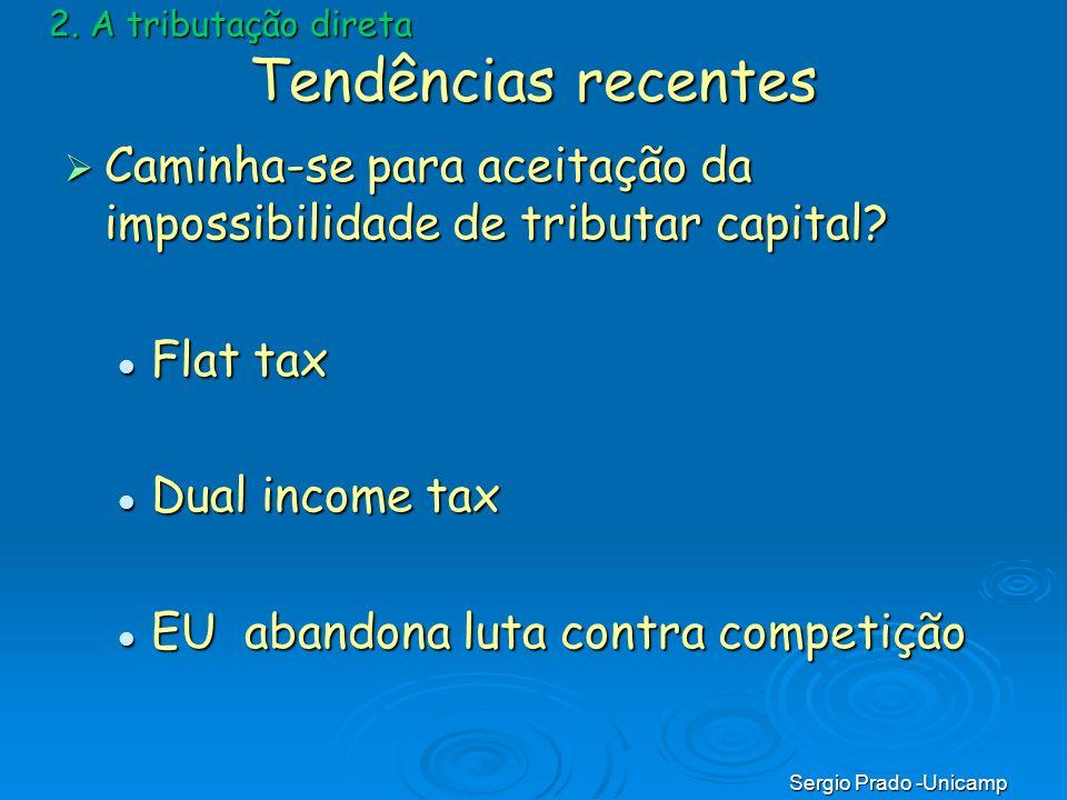 Sergio Prado -Unicamp Tendências recentes Caminha-se para aceitação da impossibilidade de tributar capital? Caminha-se para aceitação da impossibilida