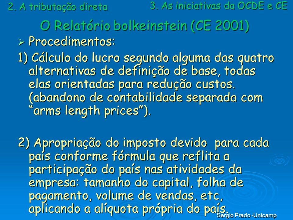 Sergio Prado -Unicamp Procedimentos: Procedimentos: 1) Cálculo do lucro segundo alguma das quatro alternativas de definição de base, todas elas orient