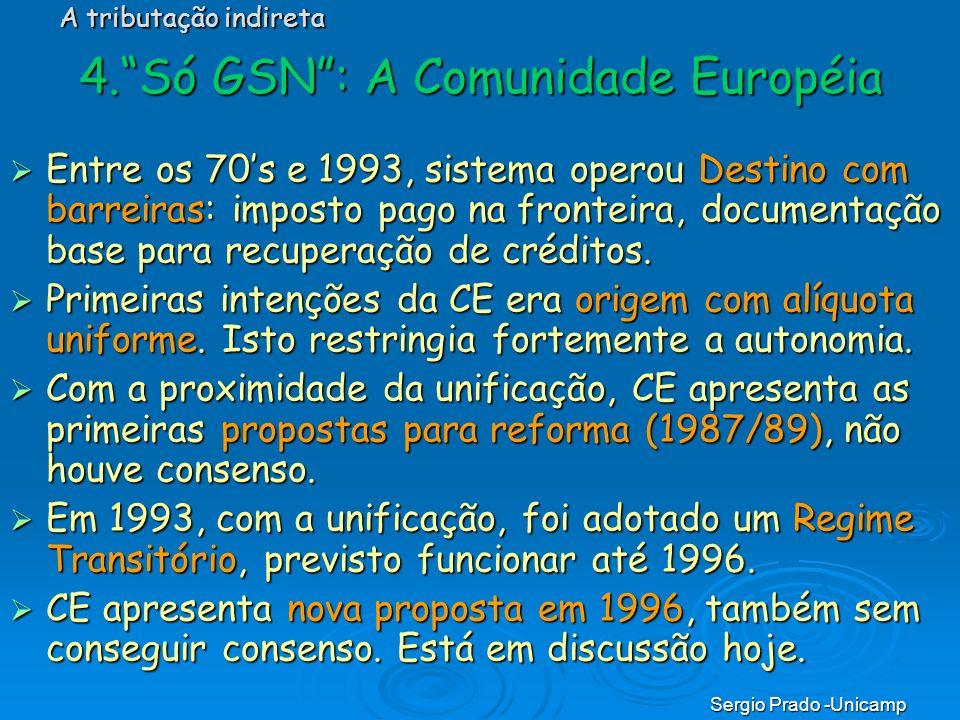 Sergio Prado -Unicamp 4.Só GSN: A Comunidade Européia Entre os 70s e 1993, sistema operou Destino com barreiras: imposto pago na fronteira, documentaç